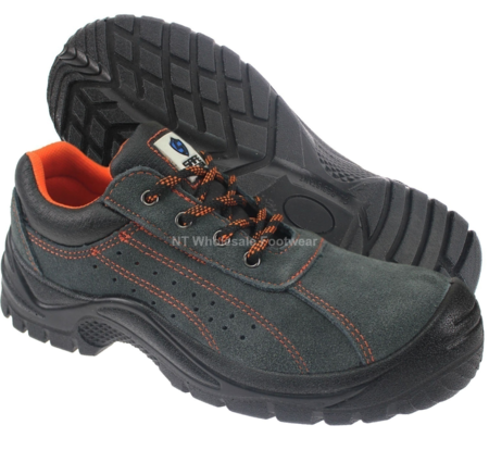 Safemaster Grey Suede Leather Low Cut Safety Shoes With Steel Toecap & Midsole S1P SRC 3160