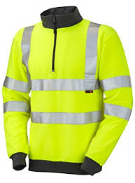 EN 20471 Hi-Viz Zip Neck Sweatshirt (37 Yellow/22 Orange)