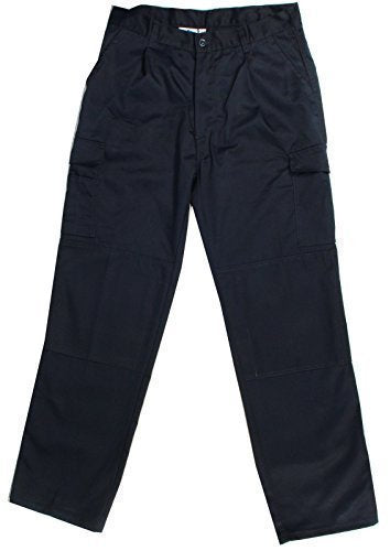 Blue Castle Poly Cotton Cargo Work Trousers In Black And Navy (766)