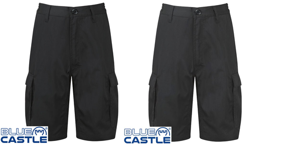 Blue Castle Workforce Cargo Work Shorts Lightweight In Black And Navy (820)
