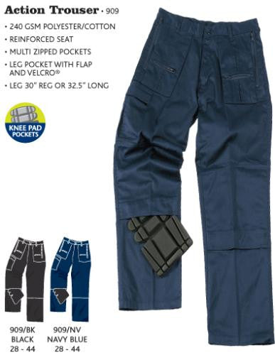 Blue Castle Action Trousers With Zip Pockets Knee Pad Pockets (909)