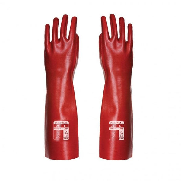 Portwest A445 Red PVC Gauntlet / Gloves Waterproof 45cm/XL