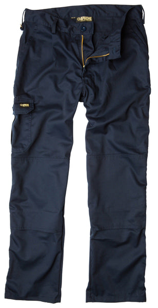 Apache Industrial Knee Pad Pocket Work Trousers In Black, Navy