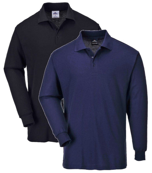Genoa Long Sleeved Polo Shirts In Black Or Navy  (B212)