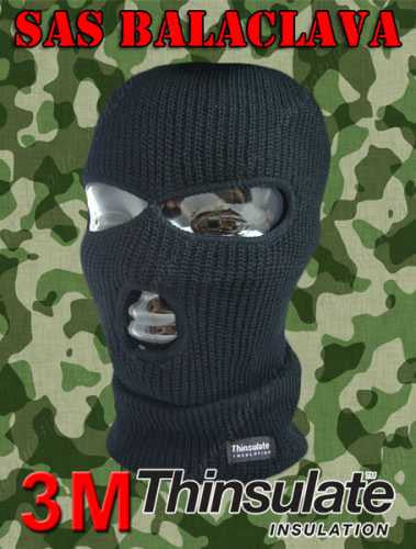 Black 3 Hole Thinsulate Fully Insulated Balaclava