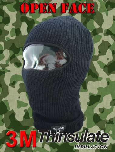 Black One Hole Open Face Balaclava