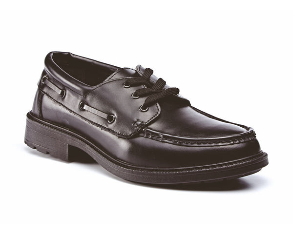 City Terrain Black Leather Executive Safety Boat Safety Shoe (CT420B)