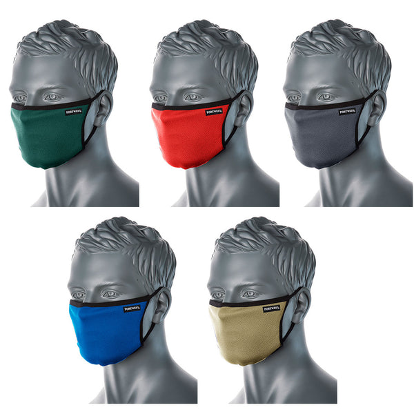 Face Masks 3 Ply Fabric In Green, Stone, Red, Blue, Grey- CV30