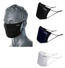 Anti-Microbial 3 Layer Ply Reusable Fabric Face Mask Adjustable In Black/Navy CV33