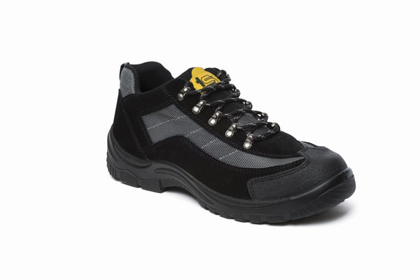 Density Tradesafe Black Suede Leather Lightweight Steel Toe Cap Safety Trainer SB (Density)
