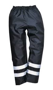 High Visibility Waterproof Rain Trousers In Black, Navy (F441)