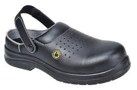 Black Lightweight ESD Non Metal Perforated Steel Toe Cap Safety Clogs SB (FC03)