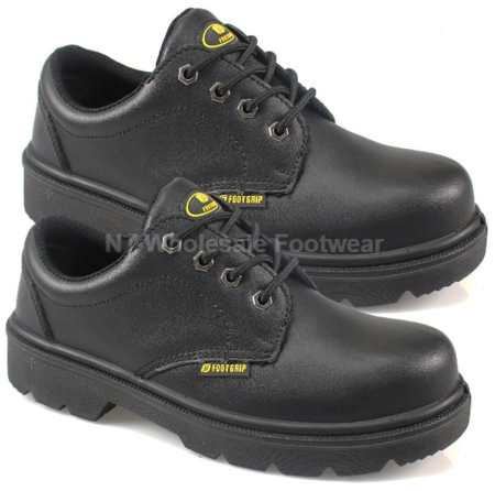 Footgrip Black Leather Safety Steel Toecap & Midsole Shoes S1P FG-3005