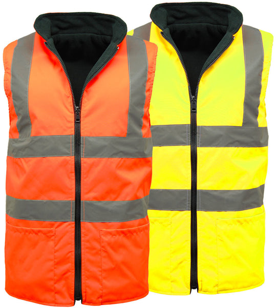 High Visibility Reversible Bodywarmers In Yellow And Orange (132 Yellow / 186/16 Orange )