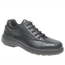 Grafters Black Leather 5 Eyelet Ladies Steel Toe Cap Safety Shoe SB (L347A)