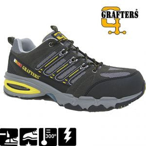 Grafters 'Nighthawk' Non Metal Composite Safety Trainers SIP (M129F)
