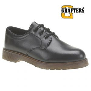 Grafters Black Smooth Leather Uniform Non Safety Air Cushion Sole Shoes (M162A)