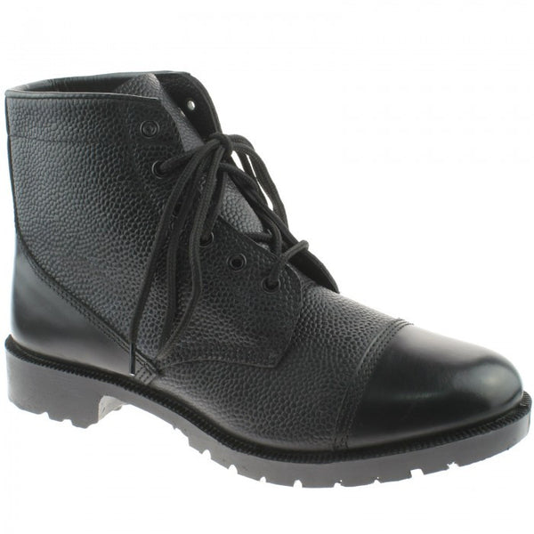 Grafters Black Leather High Shine 6 Eyelet Cadet Boots (M166A)