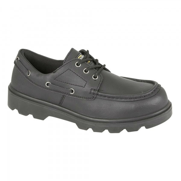 Grafters Black Leather Steel Toe Cap Safety Boat Shoes SB (M169A)