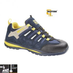 Grafters Navy Suede Leather Steel Toe Cap Safety Trainers SB (M210C)