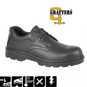 Grafters Black Leather Plain 3 Eyelet Safety Shoes SBP (M361A)