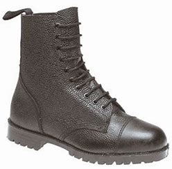 Grafters Black Leather 10 Eyelet High Leg Cadet Boots (M418A)