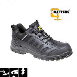 Grafters Black Leather Non Metal Composite Safety Trainer SIP (M462A)