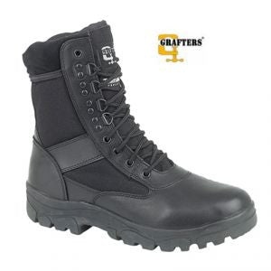 Grafters G Force Unisex Black Leather Combat Boots (M668A)