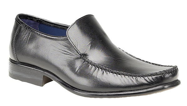 Route 21 Black Leather Plain Vamp Casual Slip On Shoes (M743A)