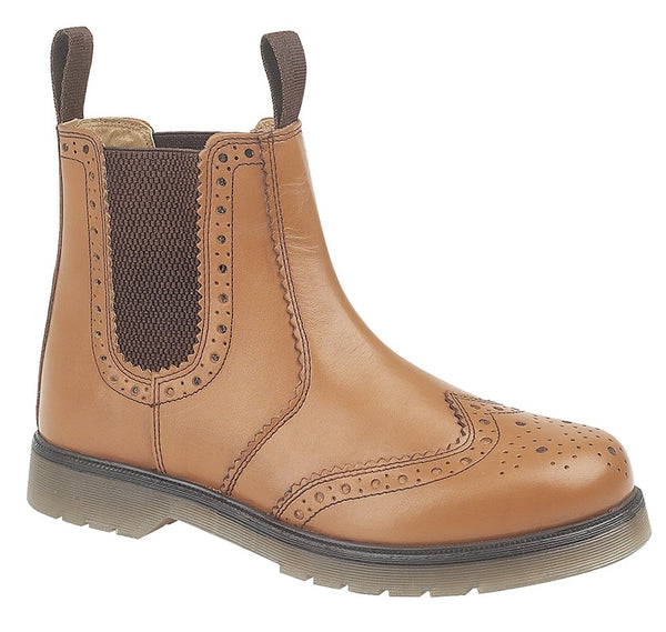 Grafters Leather Brogue Air Cushion Sole Gusset Dealer Boots (M757A/BT)