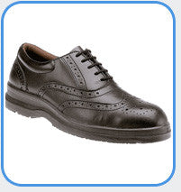 Grafters Uniform Black Smooth Leather Brogue Safety Shoes SBP (M776A/M9776A)