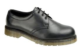 Grafters Black Leather Steel Toe Cap Safety Shoes with Air Cushion Sole SB (M787A)