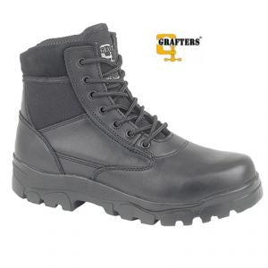 Grafters Sherman Black Leather 7 Eyelet Combat Boot (M870A)