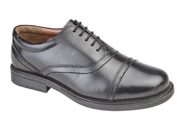 Scimitar Black Leather Capped Oxford Lace Shoes (M902A)