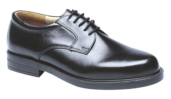Scimitar Black Leather Plain Gibson Lace Shoes (M903A)