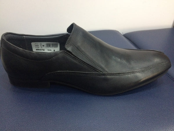 Roamers M937A Black Leather Casual Slip On Shoes (M937A)