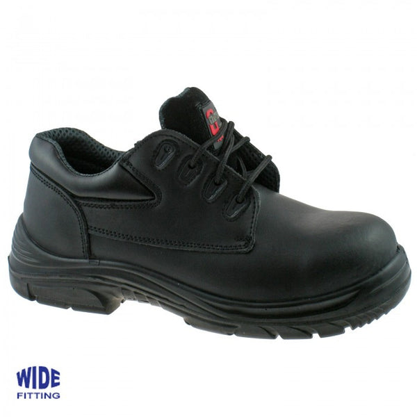 Grafters Black Leather Extra Wide Fitting Steel Toe Cap Safety Work Shoes SIP (M9504A)