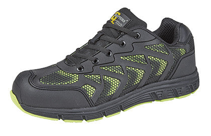 Grafters Black/Lime Steel Toe Cap Safety Trainer Shoe SB (M9505A)