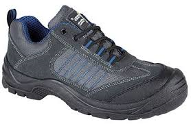 Grafters Dark Grey-Blue Suede Leather Steel Toe Cap Safety Trainer SIP (M9510F)