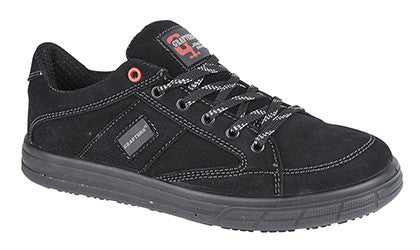 Grafters Black Real Suede Leather Steel Toe Cap Safety Trainer SB (M9512AS)