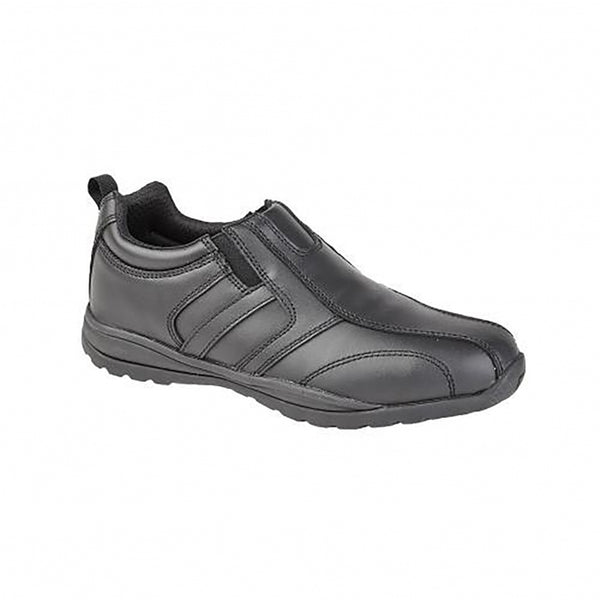 Grafters Black Leather Unisex Slip On Safety Trainers SIP ( M9570A )