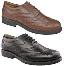 Scimitar Wing Cap Brogue Oxford Leather Wide Fit Lace Shoes (M963A/B)