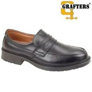Grafters Black Leather Managers Saddle Casual Steel Toe Cap Safety Shoe SB (M971A)