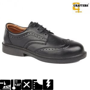 Grafters Managers Black Leather Brogue Steel Toe Cap Shoes SB (M973A)