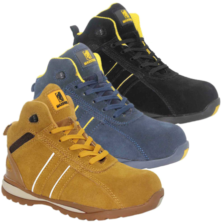 Maxsteel Hi Top Suede Leather Safety Trainer Boots With Steel Toecap SB (MS1800)