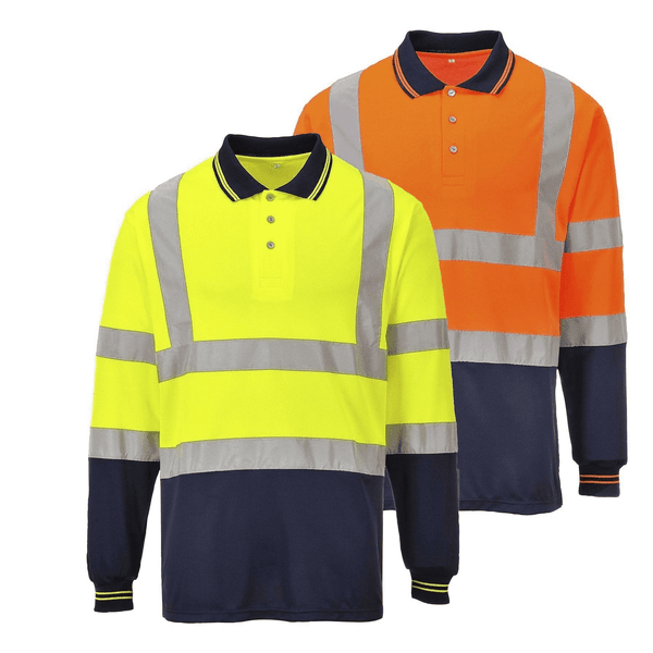 Portwest S279 Two-Tone Long Sleeved Polo Shirts In Yellow And Orange