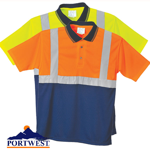 Portwest S479 Two-Tone Polo T Shirt In Yellow And Orange