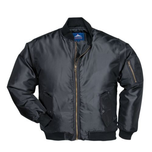 Black Padded Pilot Bomber Jacket (S535)