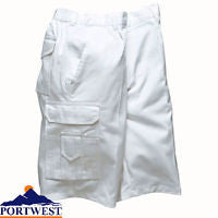 Portwest White Painters Decorators Multi Pockets Shorts Elasticated Waist 100% Cotton (S791)