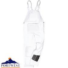 Portwest White Cotton Painters Bib & Brace (S810/T810)